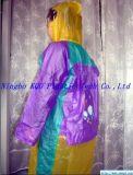 兒童熒光PVC拼色雨衣