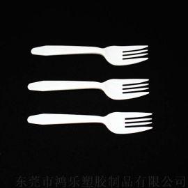 PP白色一次性塑料叉子蛋糕月饼西餐专用餐具