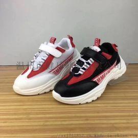 巴布豆红元素真超纤双网布男女童运动鞋超轻底童鞋