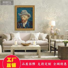 欧式书房艺术人物肖像复古客厅沙发背景墙挂画油画有框装饰画梵高