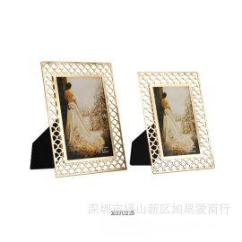 花邊鏤空相框擺件全家福兒童影樓金屬相框鏤空樣板間客廳擺臺擺件