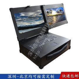 19寸双屏工业便携机工控一体机定制  笔记本空机箱加固电脑视频