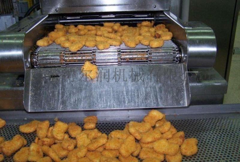 自动鱼饼、虾饼油炸生产线 电加热肉饼裹糠油炸机设备