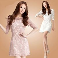 大码镂空韩版修身中袖打底蕾丝连衣裙