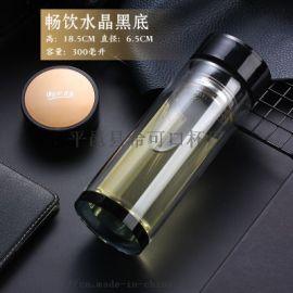 加厚双层玻璃杯高端商务杯子广告促销礼品定制LOGO