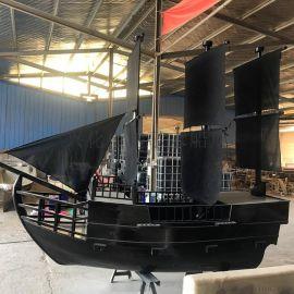 上海户外景观船厂家 **室内餐饮装饰船 海盗木船