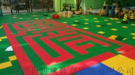 篮球场悬浮拼装地板 运动场塑胶地板