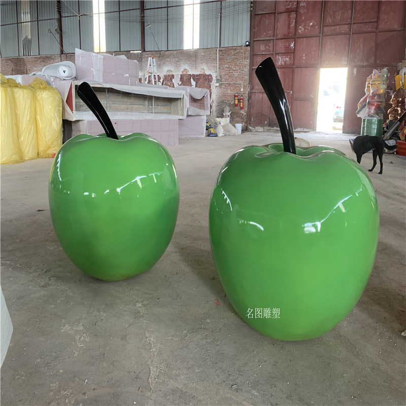 广州玻璃钢青苹果雕塑 生态园仿真水果雕塑 植物造型