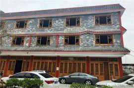 城镇门窗仿古铝花格 红色铝花格窗 铝合金门窗
