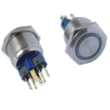 22MM自锁式/复位式带灯金属按钮开关