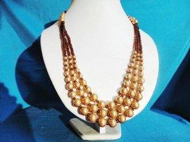 大小玻璃仿珍珠三层次玻璃款项链高端时尚流行饰品