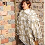 专柜正品豹纹提花女士羊毛围巾披肩两用秋冬厚斑马纹保暖羊绒围脖