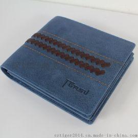 新款 钱包纯手工编织 男士钱夹 短款钱包真皮