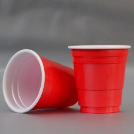 厂家采购ps外红内白小酒杯,外黑内白小酒杯,ps印刷小酒杯