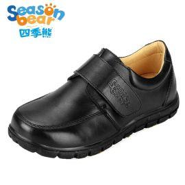 四季熊  黑色皮鞋真皮儿童软底单鞋中大童皮鞋校园学生演出鞋子
