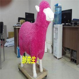 **玻璃钢工艺仿真彩绘红色羊**展览摆设雕塑摆设定做厂家