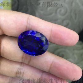 椭圆型46.305克拉收藏级坦桑石,可以加工定做坦桑石 项链
