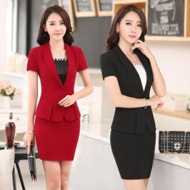 厂家供应夏装职业女装套裙时尚OL修身经理前台工作服套装短袖