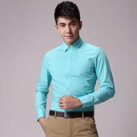 韩版修身衬衣小方领职业正装纯色春秋浅蓝色衬衫男长袖