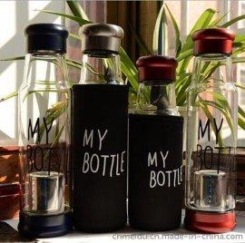 新品创意玻璃杯骑士花茶水瓶杯套装带茶隔耐热玻璃杯