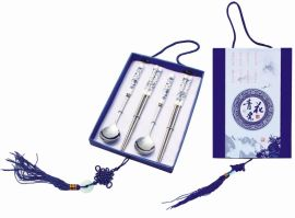 青花瓷勺筷四件套 不锈钢餐具礼盒套装 情侣套装 送礼佳品