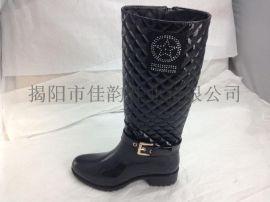 揭阳厂家供应2015新款女士高筒时尚雨鞋
