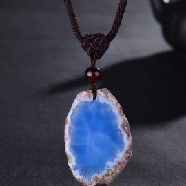 五皇一后珠宝蓝色天然玛瑙五行能量石