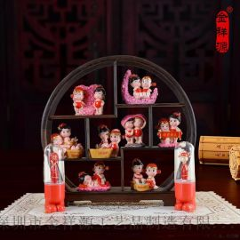 中式婚庆装饰 娃娃公仔摆件树脂工艺礼品