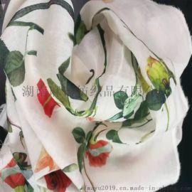 厂家直销 超轻薄麻棉印花布 衣服裙子面料