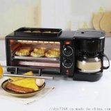 廠家直銷多功能3合1早餐機煎烤煮一體機多士爐吐司機