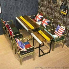 工业风家具loft桌子创意复古酒吧咖啡厅铁艺餐桌椅组合长桌办公桌