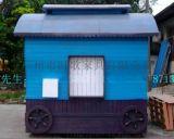 防腐木售货车  可移动木质售货车  步行街景点售货车  展览花车