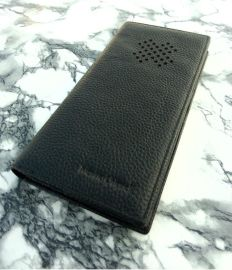上海訂做真皮錢包 男士真皮西裝錢夾 黑色星窗格紋設計