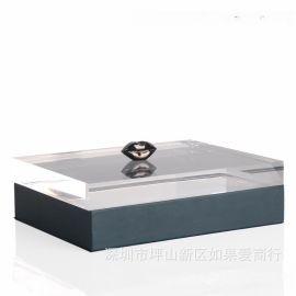 藏蓝色正方形超纤皮亚克力枪色嘴唇合金首饰盒创意客厅卧室摆件