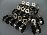 电动车用金属管卡,包胶管夹,带胶条线夹6mm