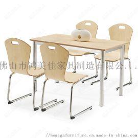 廠家直銷新款飯堂餐廳快餐桌椅餐椅可疊起