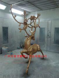 广州豪晋 玻璃钢仿真动物梅花鹿雕塑工艺品厂家直销
