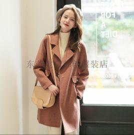 2018新款雙面呢子大衣中長款女裝外套時尚羽絨服