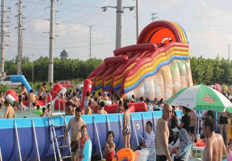 河北邯鄲大型移動支架游泳池水樂園加新款水滑梯