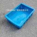 厂家直销加厚收纳箱折叠箱 塑料仓储物流箱 蓝色多规格周转箱批发