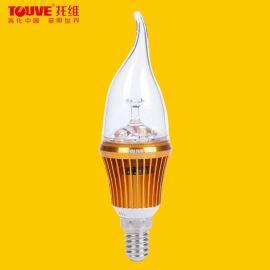 TOUVE托维 LED节能灯,3W蜡烛灯,E14螺旋口水晶灯,专用光源 德国品质,进口芯片