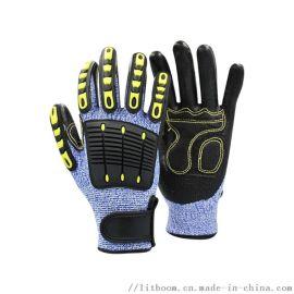 TPR手套減震機械抗衝擊防切割防撞安全防護手套