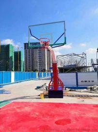 佛山室外篮球场地篮球架带轮移动架子钢化玻璃篮球板