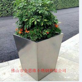 豪华不锈钢花钵矩形厂家玫瑰金不锈钢创意花盆供应