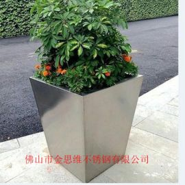 豪華不鏽鋼花鉢矩形廠家玫瑰金不鏽鋼創意花盆供應