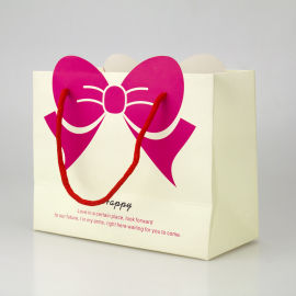 创意礼品袋 蝴蝶结印花手提袋 加厚单铜纸袋