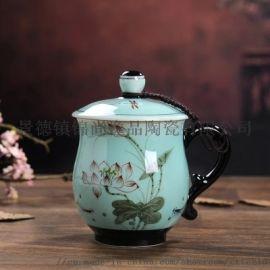 景德镇陶瓷带盖骨瓷茶杯
