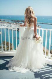 2020新款外贸白色抹胸吊带简约婚纱海滩婚纱