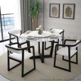 北欧大理石转盘圆桌白蜡木餐桌 简约胡桃木色餐椅套装
