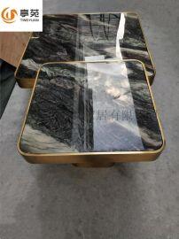现代简约大小户型方形大理石不锈钢茶几